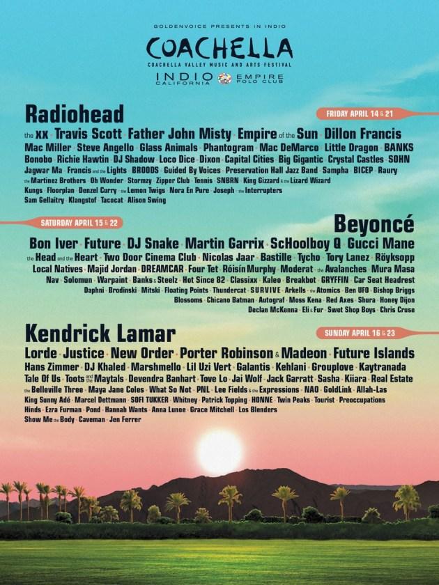 Coachella 2017 Lineup Includes Beyonce, Radiohead ...